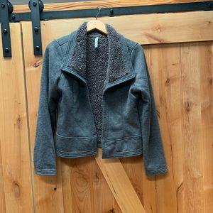 MIILLA CLOTHING suede sherpa gray moto jacket